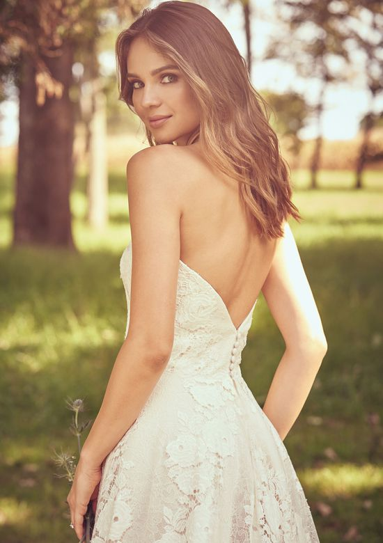 Lillian West Style 66066 Strapless Allover Lace A-Line Gown