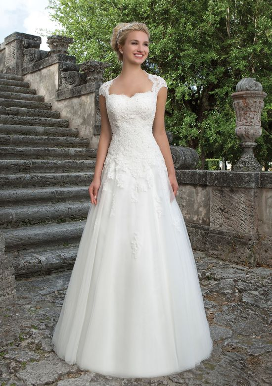Sincerity Bridal Style 3906 Lace and Tulle Ball Gown with Queen Anne Neckline