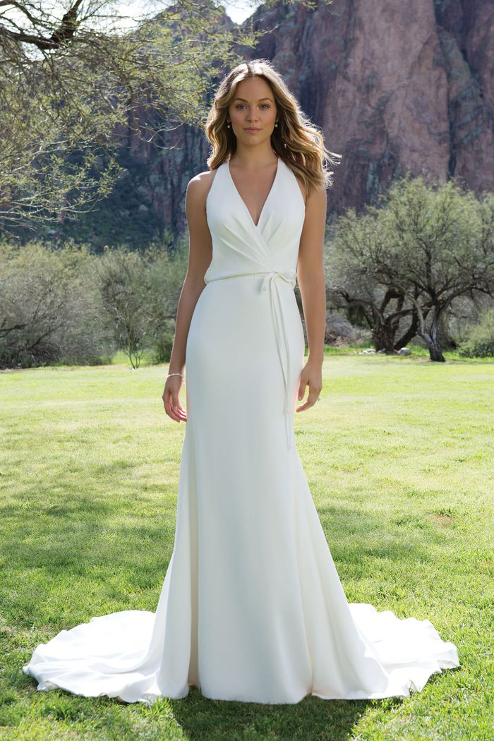 Sweetheart Gowns Crepe V-Neck Gown with Draped Open Back