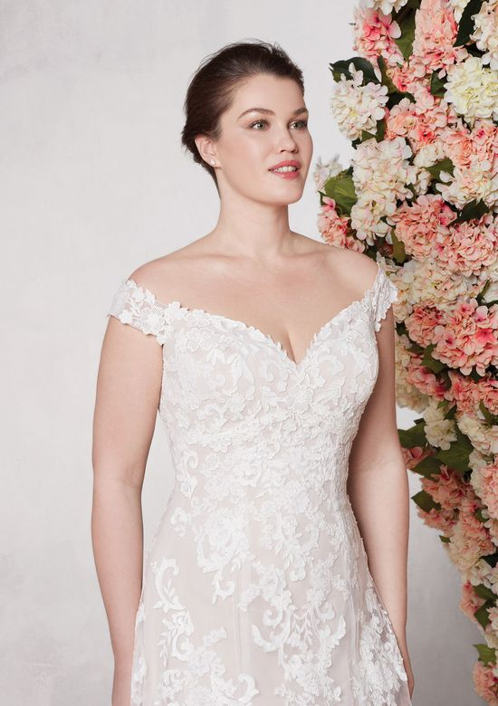 Sincerity style 44075 Off the Shoulder A-line Gown with Embroidered Lace