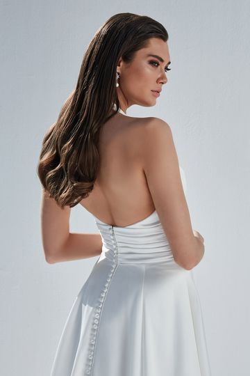 Justin Alexander Style 88170 Brooke Charmeuse A-Line Gown with Halter Neckline and Pleated Cummerbund