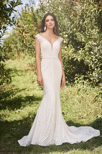 Lillian West Style 66138 Mermaid Gown with Allover Cotton Geometric Lace