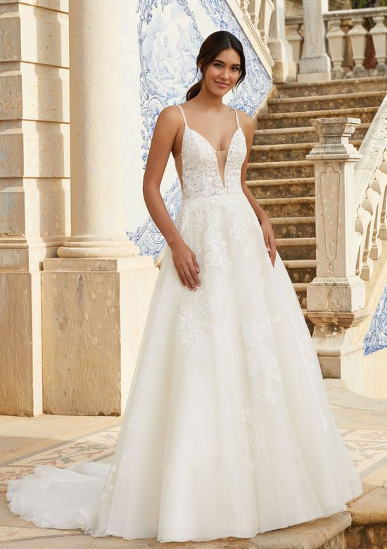 Sincerity Bridal Style 44108 V-Neckline Ball Gown with Beaded Lace Appliques