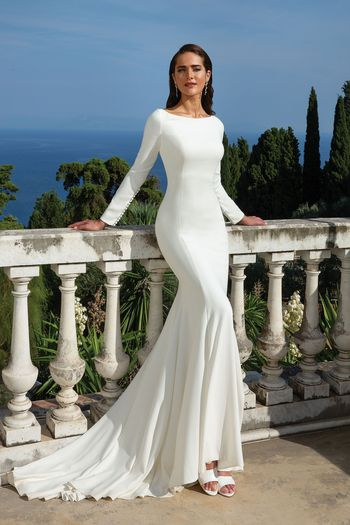 Justin Alexander Style 88133 Clean Crepe Long Sleeve Fit and Flare gown