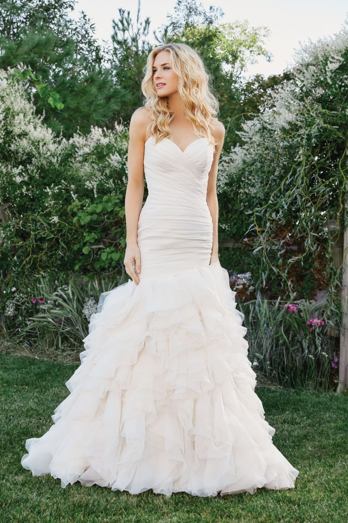 Lillian West Style 6434 Mermaid Gown with Sweetheart Neckline and Ruffled Skirt