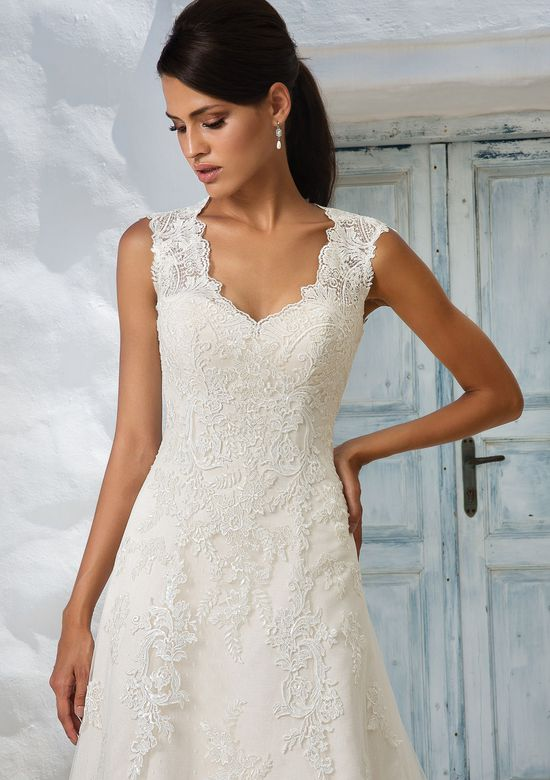 Justin Alexander Style 8822 Queen Anne Neckline Lace A-Line Bridal Gown