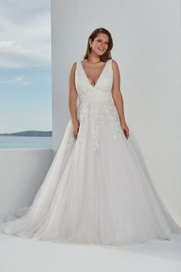 Justin Alexander Style 88100PS Venice Lace Covered Plus Size Ball Gown