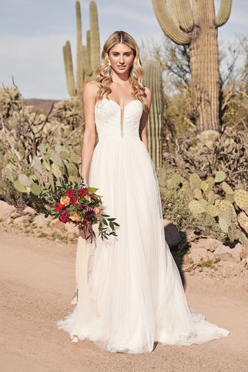 Lillian West Style 66168 Strapless A-Line Gown with English Net and Vertical Lace Trim
