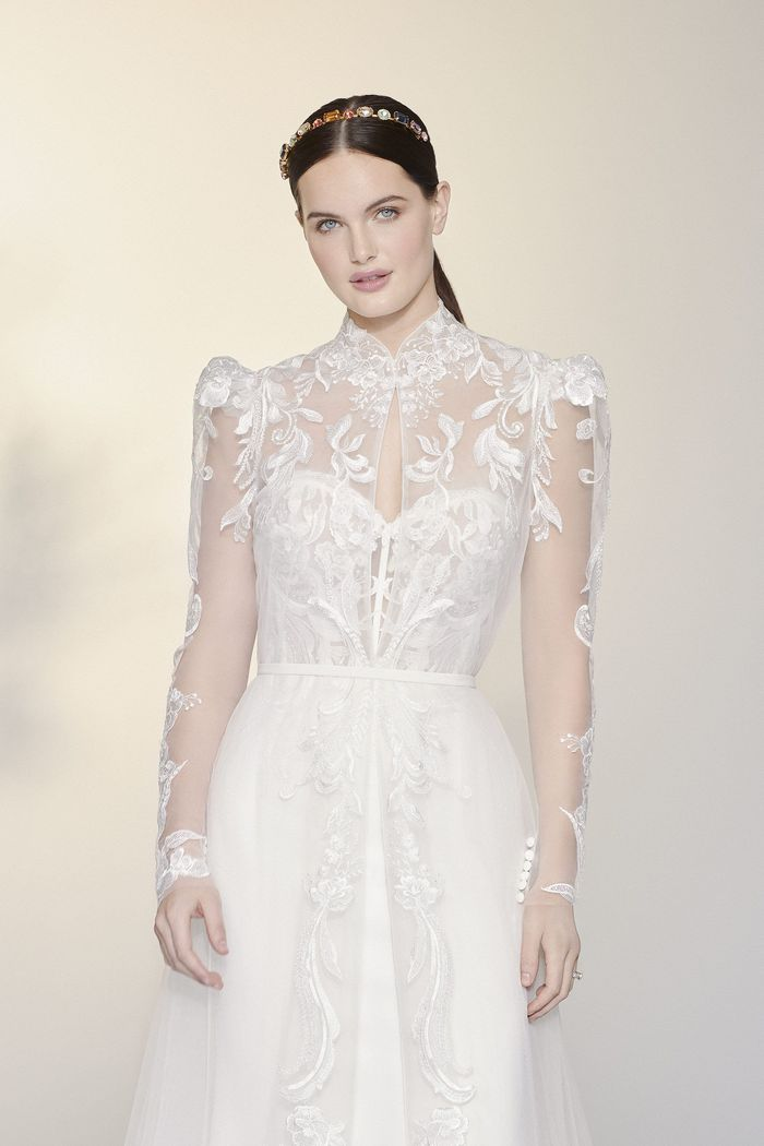 Justin Alexander Signature Style 99204J Heather Jacket Tulle Jacket with Puff Sleeves and Mandarin Collar