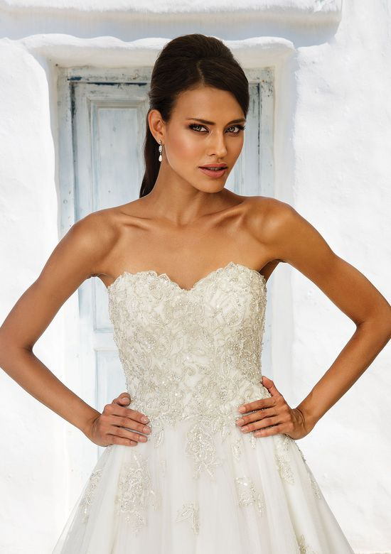 Justin Alexander Style 8969 Beaded Sweetheart Bodice Ball Gown with Cascading English Net Skirt