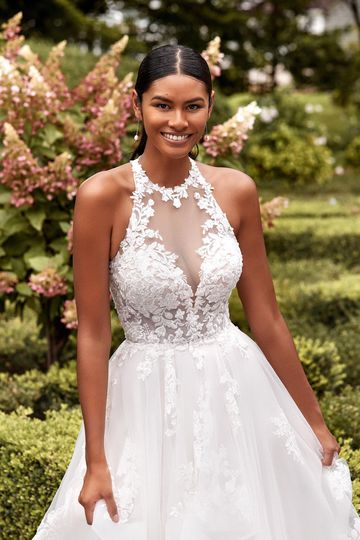 Sincerity Bridal Style 44287 Jewel Neckline Ruffle Skirt Ball Gown with Low Cut Keyhole Back