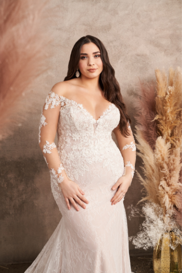 Lillian West Style 66129 Long Sleeve Gown with Allover Chantilly and Beaded Lace