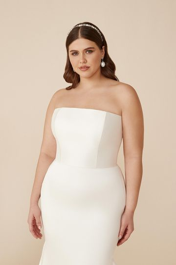 Justin Alexander Style 88205PS Celeste Plus Size Stretch Mikado Fit and Flare Gown with Straight Neckline