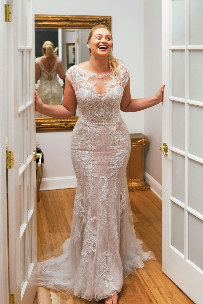 Justin Alexander Style 88050 Hand Beaded Lace Applique Fit and Flare Dress