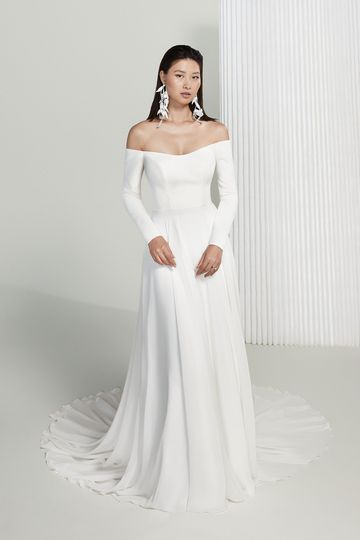 Justin Alexander Signature Style 99216 Amelia Long Sleeve Off the Shoulder Wedding Gown with Luxe Chiffon Skirt