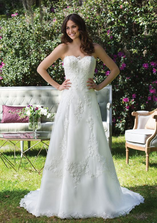 Sincerity Bridal Style 3954 Tulle and Satin A-Line Gown with Sequined Lace Appliques