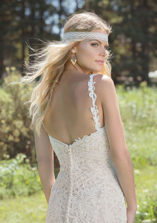 Lillian West Style 6494 Venice Lace V-Neckline Gown with Illusion Tulle Skirt