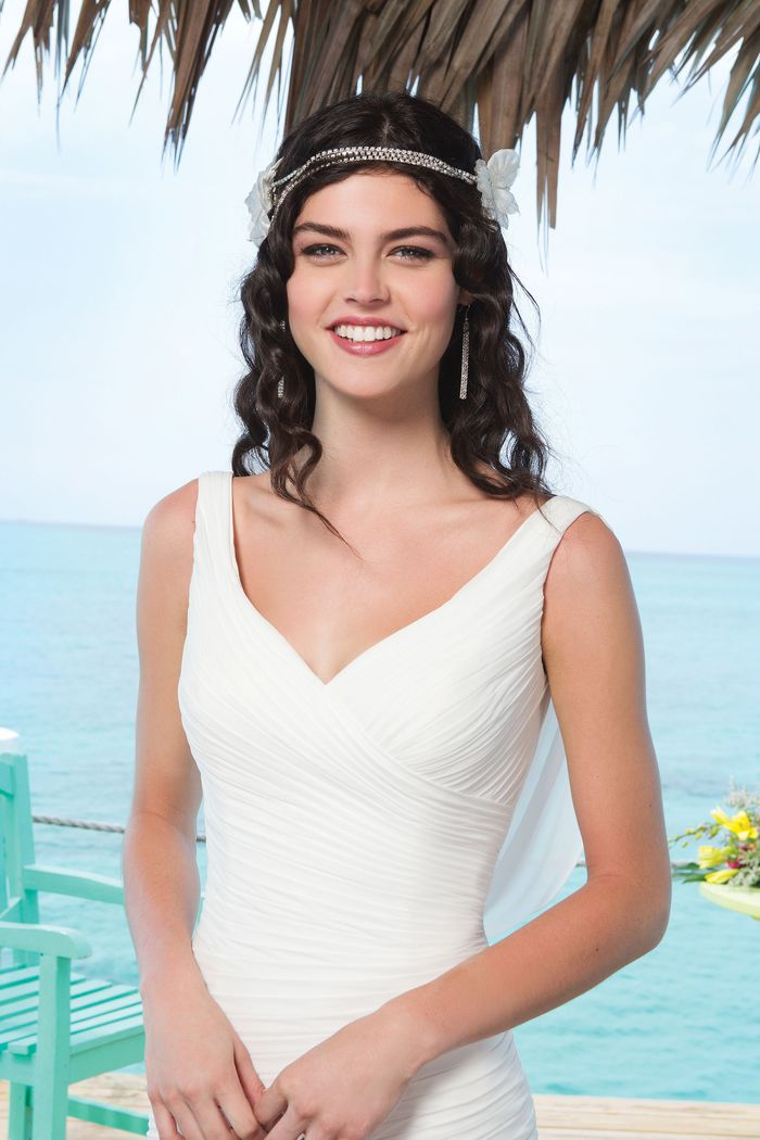 Sincerity Bridal Style 3772 Chiffon mermaid dress emphasized with a tank neckline