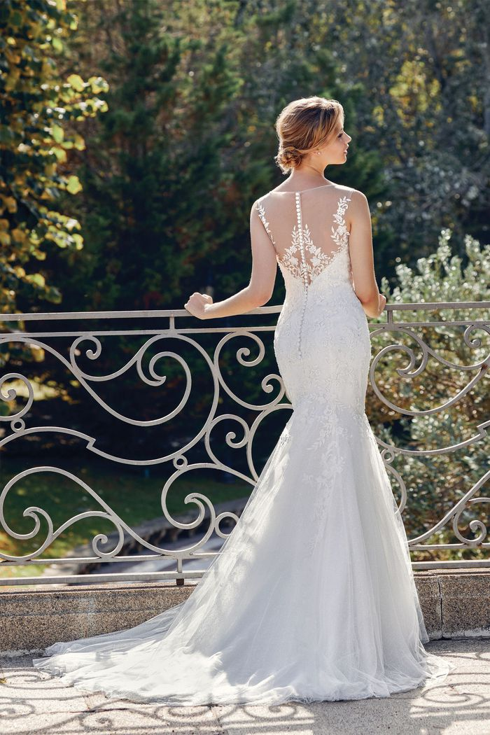 Sincerity Bridal Style 44119 Allover Lace Mermaid Gown with Illusion Neckline