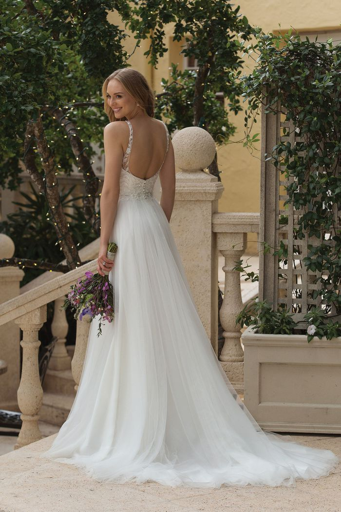Sincerity Bridal Style 44105 Natural Waist A-line with Floral Beaded Bodice