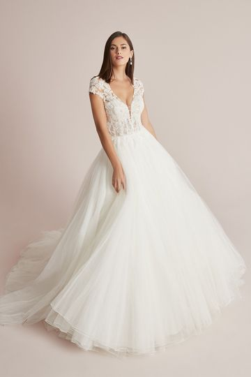 Justin Alexander Style 88213 Cardea Tulle Ball Gown with Beaded Illusion Bodice and Cap Sleeves