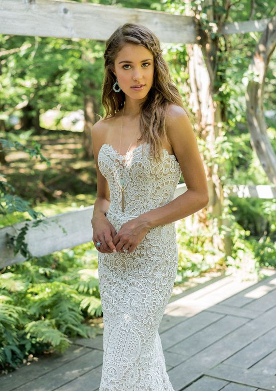 Lillian West Style 66011 Allover Lace Strapless Fit and Flare