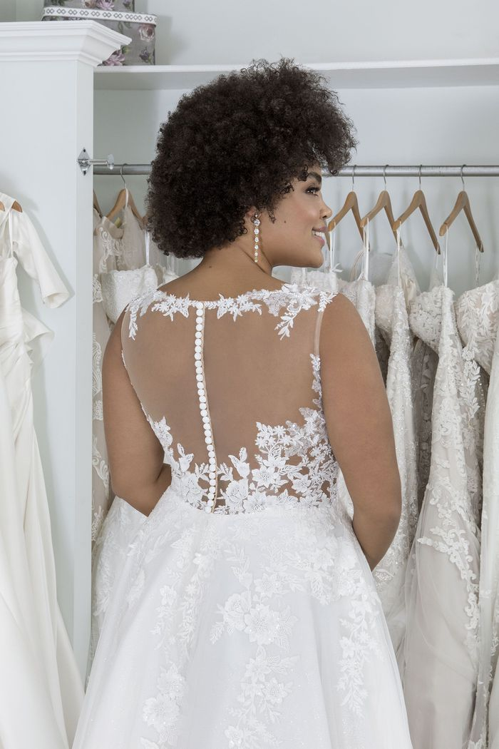 Sincerity Bridal Style 44252PS Plus Size Glitter Tulle Gown with Sabrina Neckline and Illusion Back