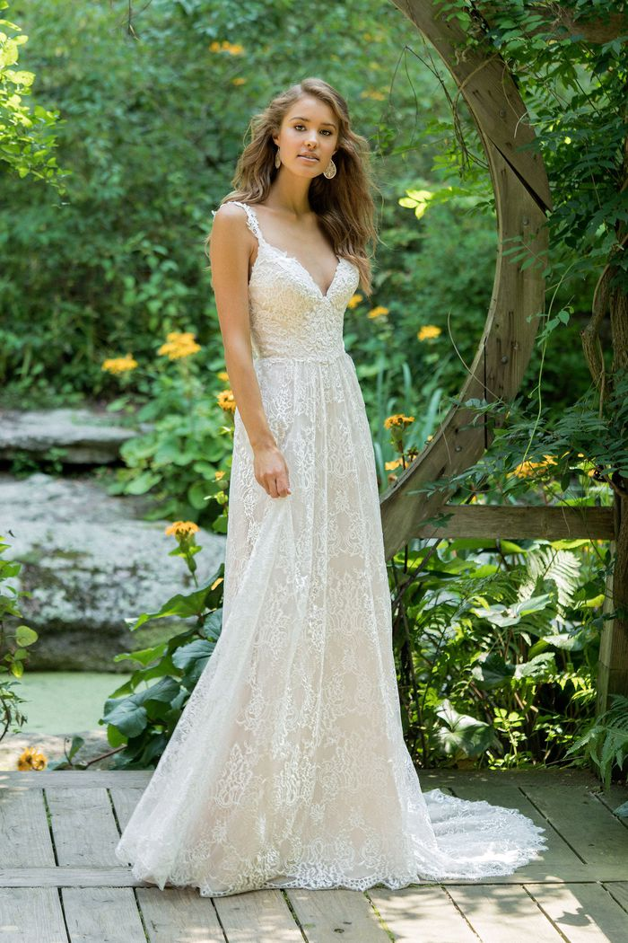 Lillian West style 66020 Allover Embroidered Lace Gown with Straps