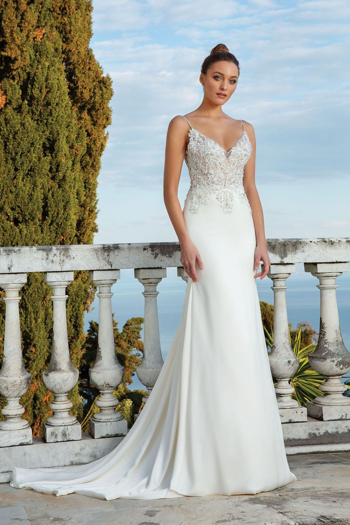 Justin Alexander Style 88119 Stretch Satin Fit and Flare Gown with Beaded Appliques