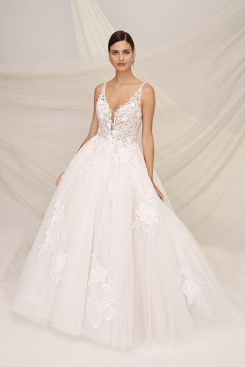 Justin Alexander Signature Style 99132 KENSINGTON Ball Gown with Embroidered Chiffon Appliques and Sequined Lace