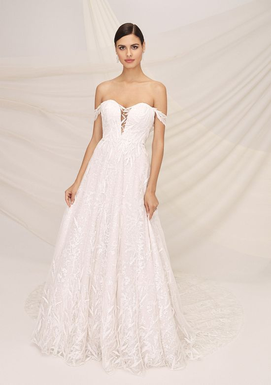 Justin Alexander Signature Style 99131 HYDE Off the Shoulder Beaded Dress with Embroidered Sequin Underlay