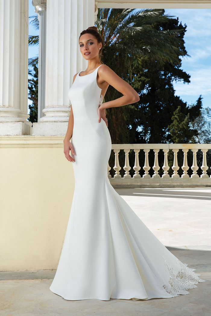 Justin Alexander Style 88126 Crepe Fit and Flare Dress with Illusion Back