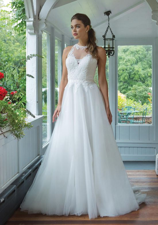 Sweetheart Gowns Style 11056 Jewel Neckline A-line Gown with Venice Lace Bodice