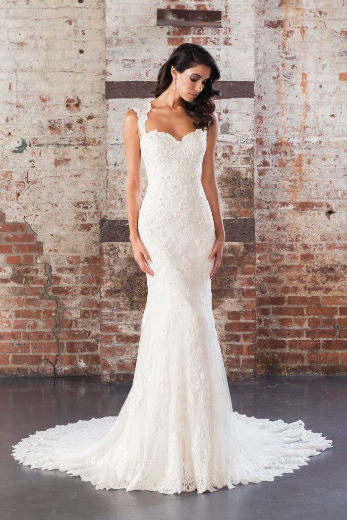 Justin Alexander Signature Style 9861 Sequin Beaded Lace Fit and Flare Gown with Open Back