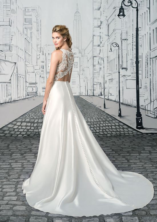 Justin Alexander Style 8902 Sequin Beaded Lace Bodice and Open Keyhole Back