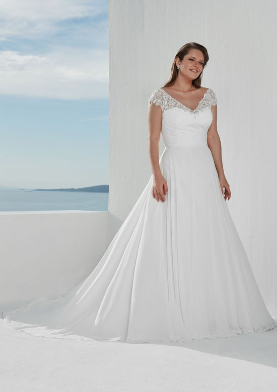 Justin Alexander Style 88113 V-Neck A-Line Gown with Beaded Neckline