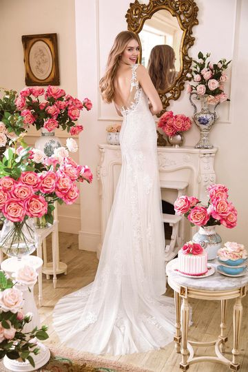Sweetheart Gowns Style 11033 Lace Fit and Flare Gown with Plunging V-neckline
