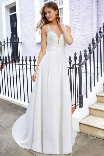 Adore by Justin Alexander Style 11121 A-Line Chiffon Gown with Beaded Embroidered Lace and Cummerbund