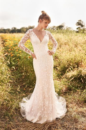 Lillian West Style 66195 Long Sleeve Sheath Dress with Sequined Leaf Motif Appliqués